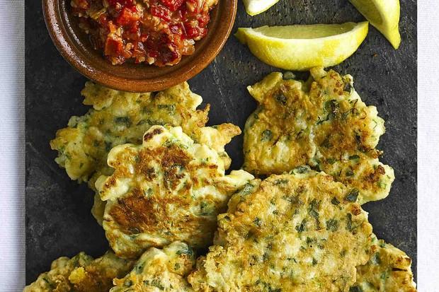Cauliflower Fritters Recipe with Romesco Sauce