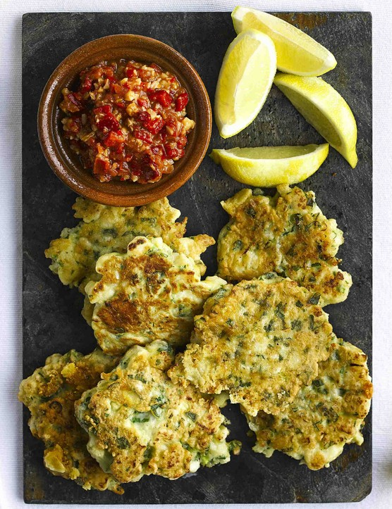 Cauliflower Fritters Recipe with Romesco Sauce