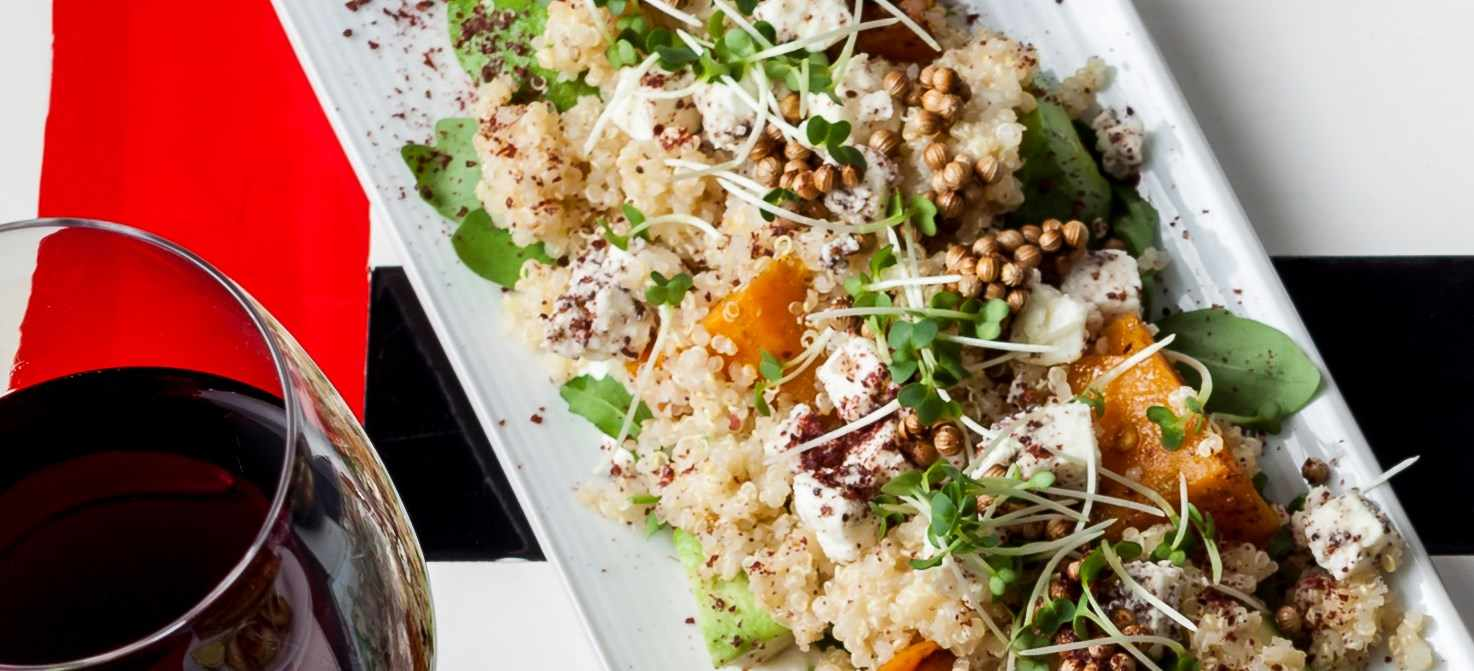 Roasted butternut and feta salad with quinoa, avocado and sumac