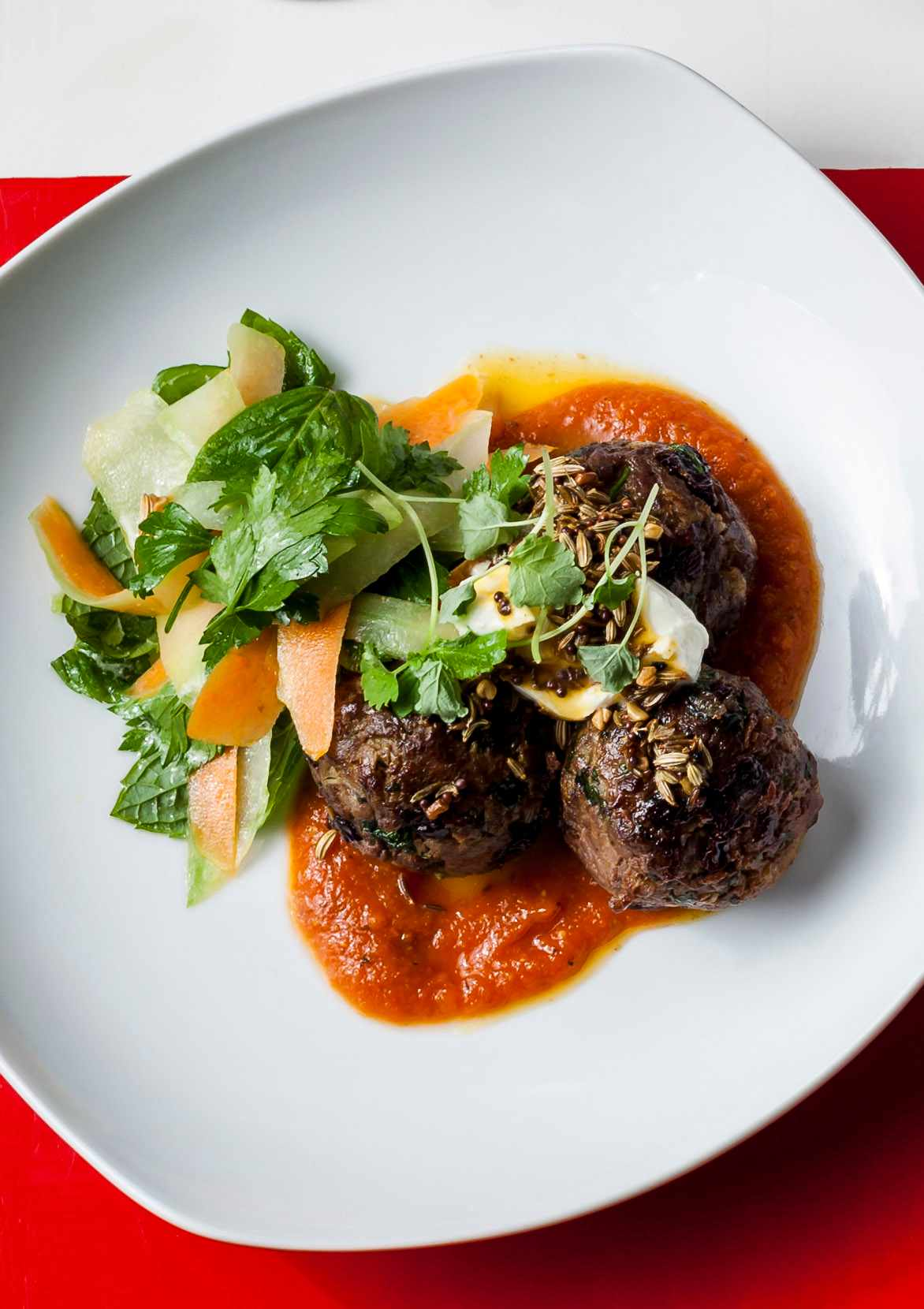 Lamb Kofte Tagine With Tomato Sauce and Panch Phoran