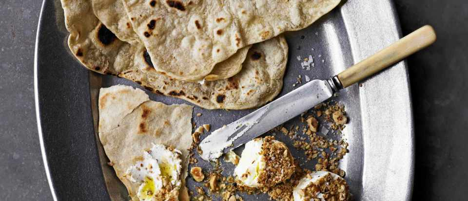 Dukkah goat's cheese with homemade flatbread