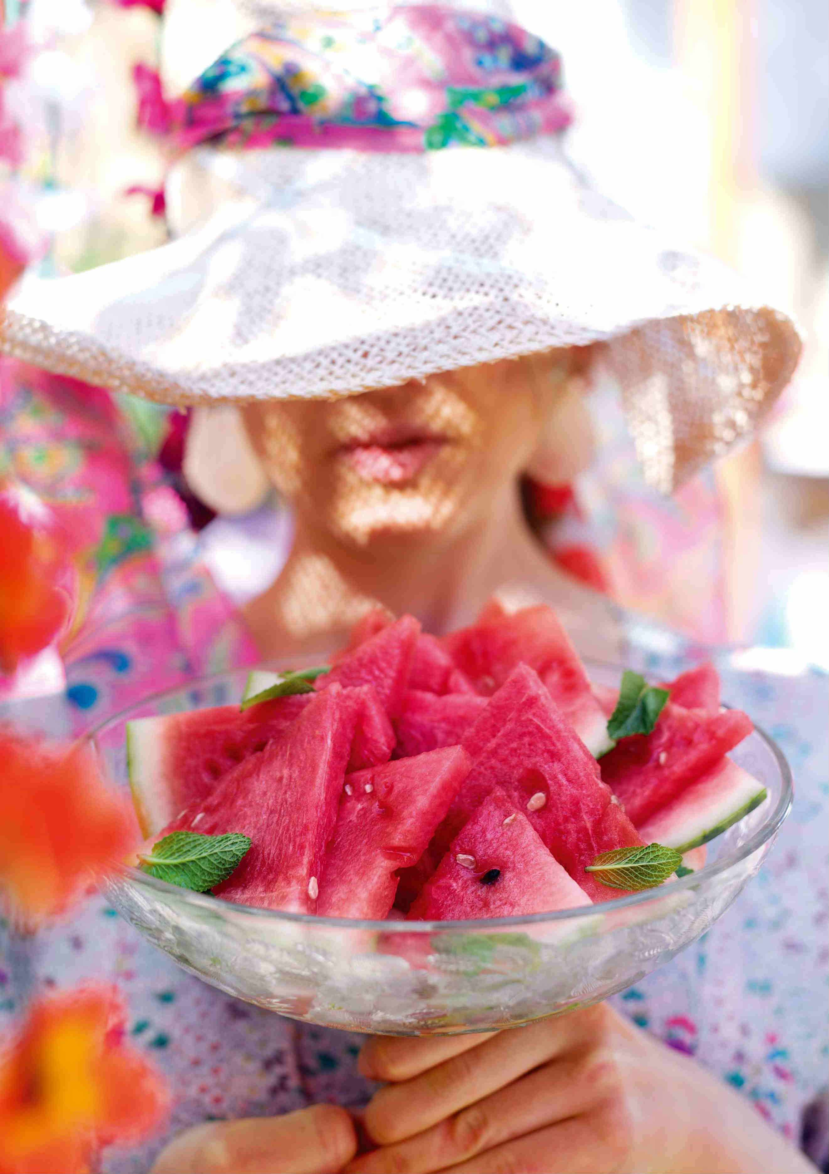Iced watermelon with mint and lime syrup