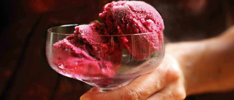 Black grape and wine sorbet