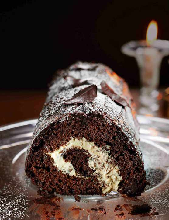 Mocha chocolate roulade