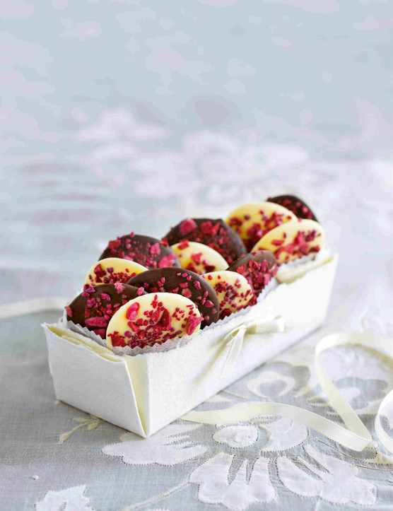 Raspberry and rose chocolate wafers