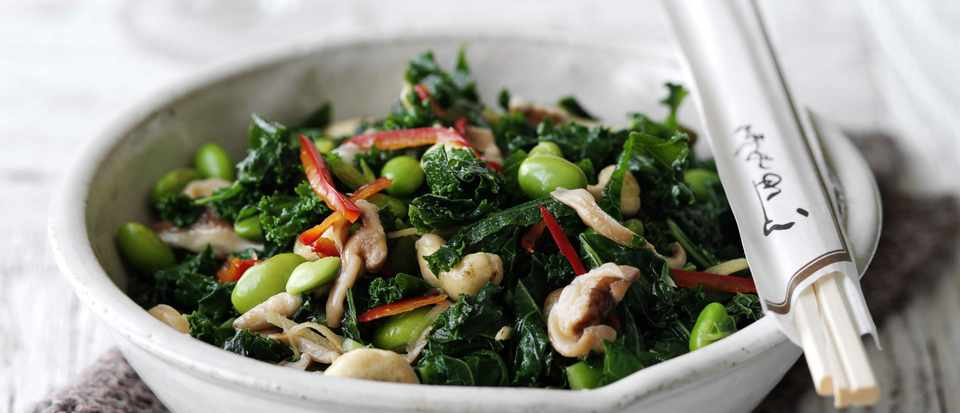 Kale, mushroom and cashew stir-fry