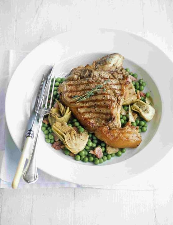 Veal Chop Recipe with Peas and Bacon