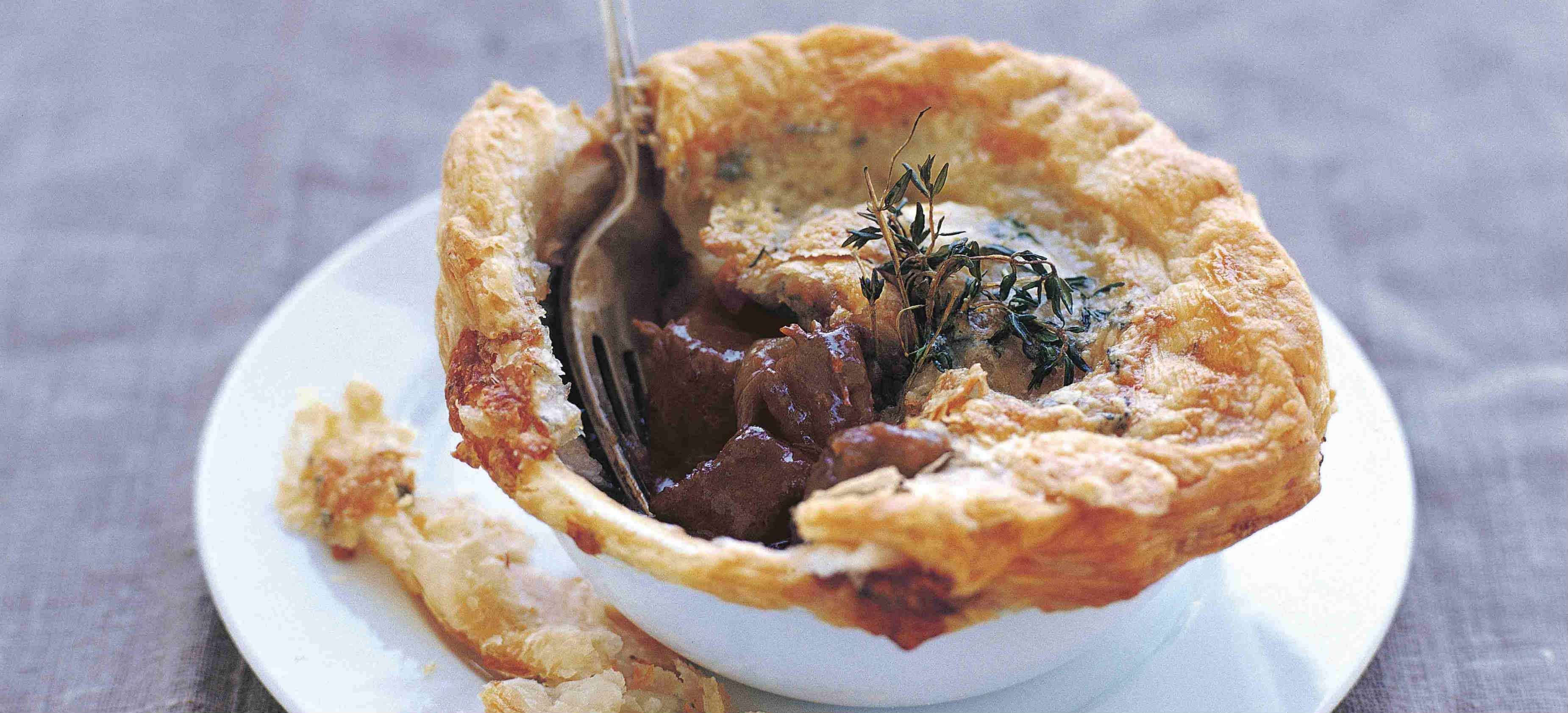 Beef, stilton and Guinness pie