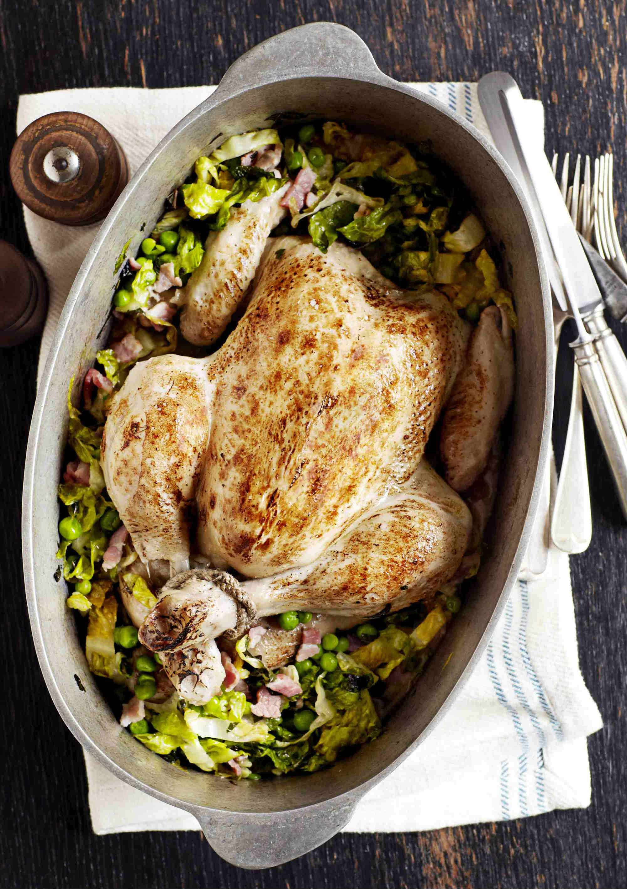Pot Roast Chicken Recipe with Peas and Bacon