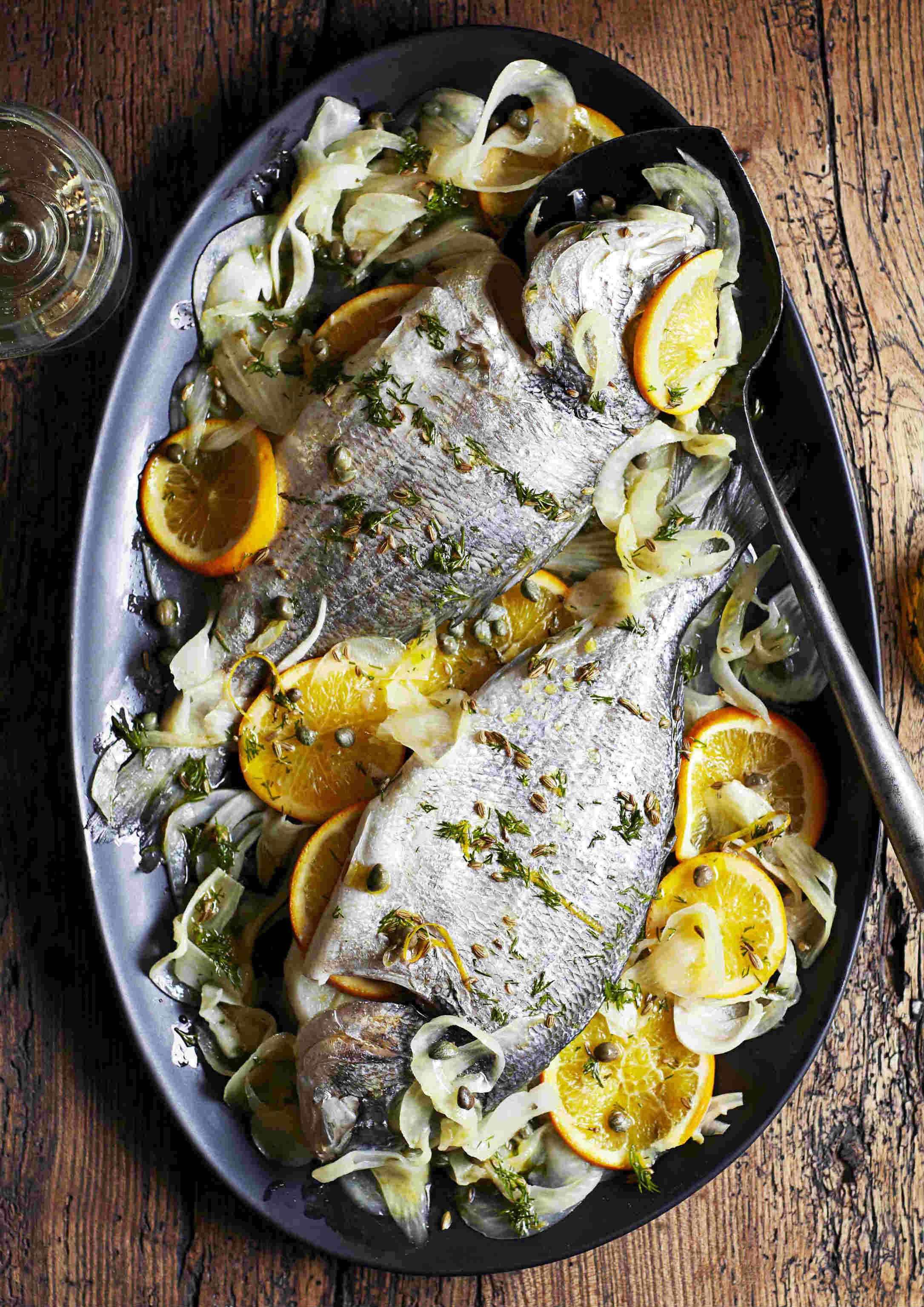 Roast fennel-stuffed bream with fennel seed and orange oil