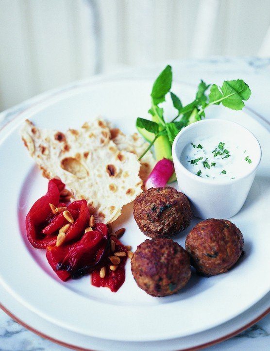 Lamb kofte with roasted peppers and tzatziki