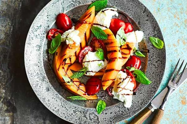 Grilled melon caprese salad