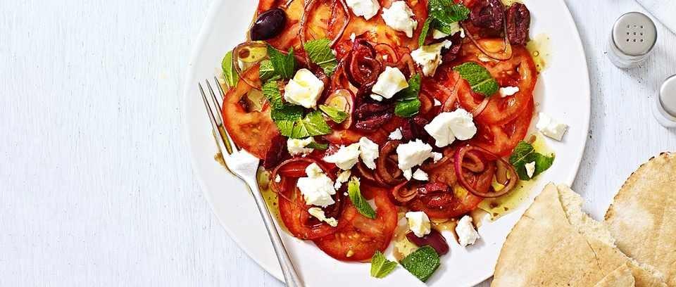 Marinated tomato and feta salad