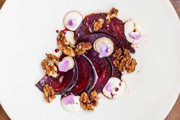 Salt-baked beetroot, smoked aubergine, goat's cheese and walnuts
