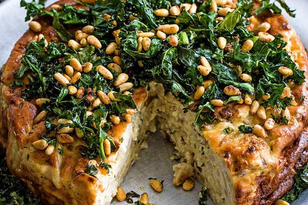 Cauliflower sformato with crispy kale and caramelised pine nuts