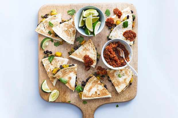 Black bean and squash quesadillas with smoky chipotle salsa