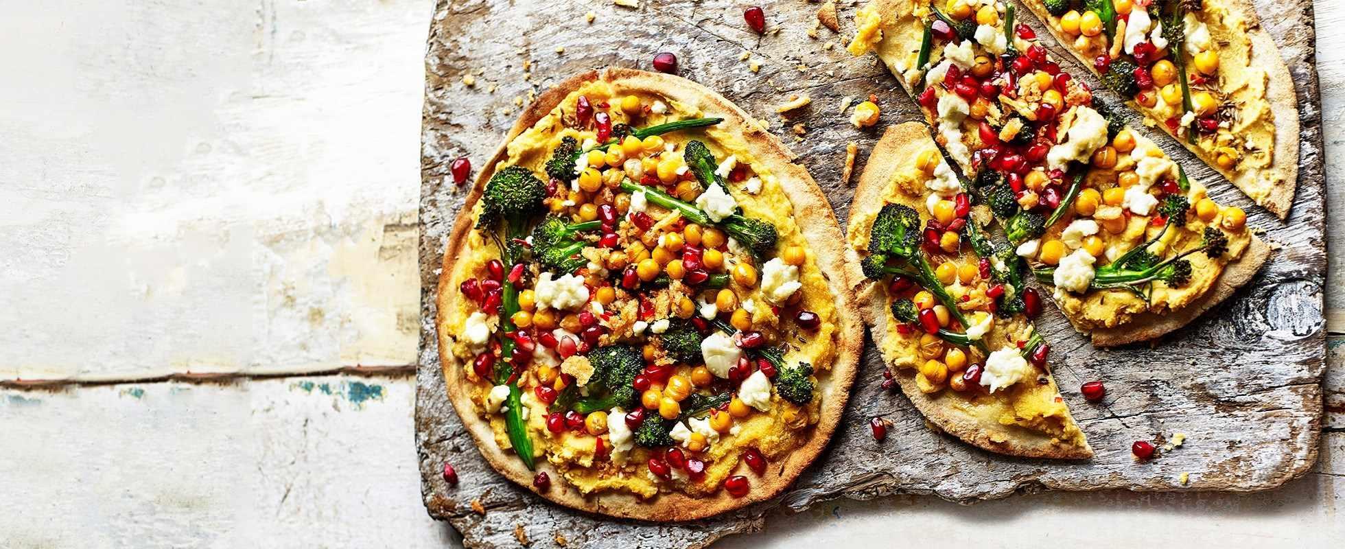 Roasted broccoli and feta flatbreads