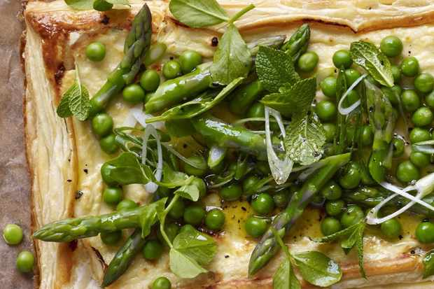 Baked ricotta tart with spring veg, mint and peashoots