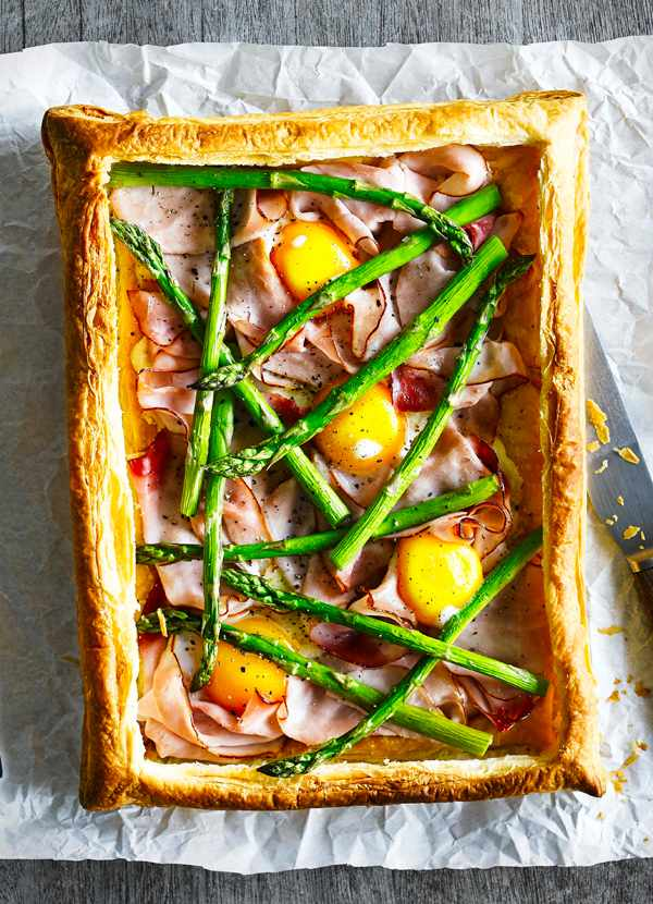 Asparagus Tart Recipe with Ham and Eggs