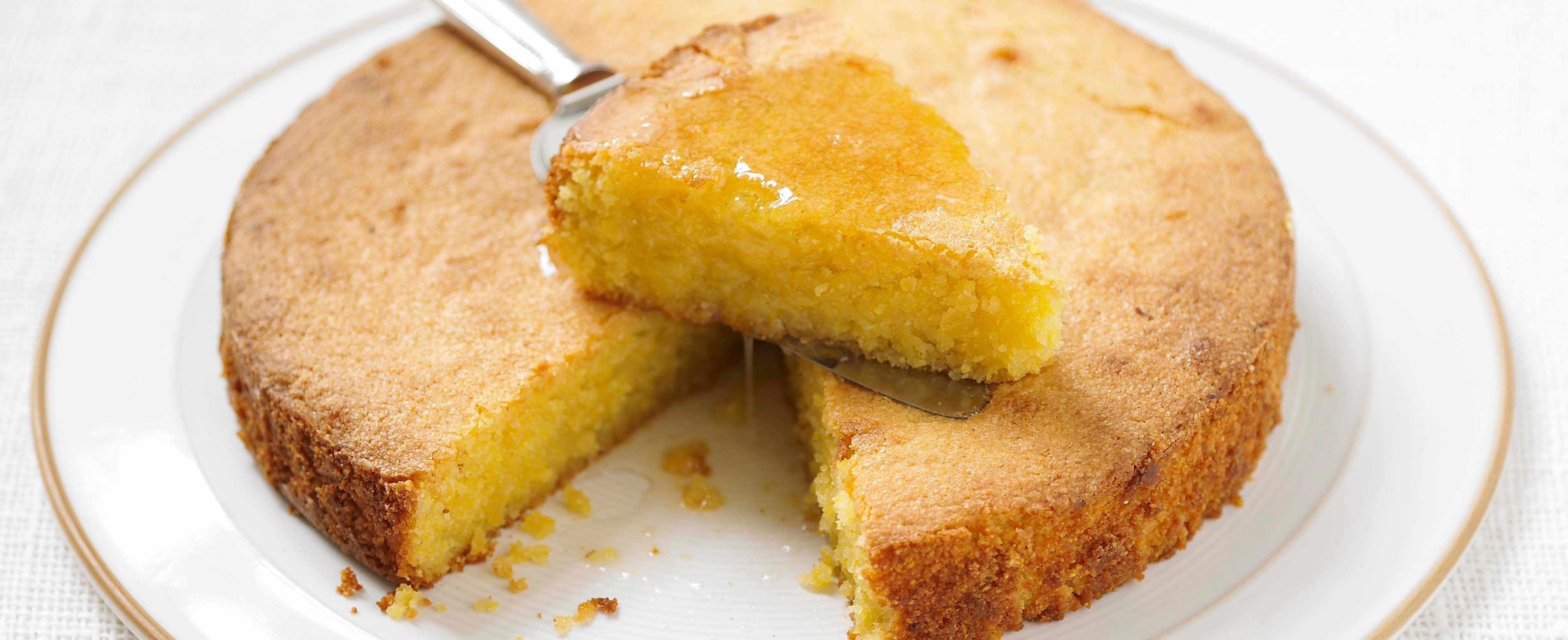 Lemon polenta cake with limoncello syrup