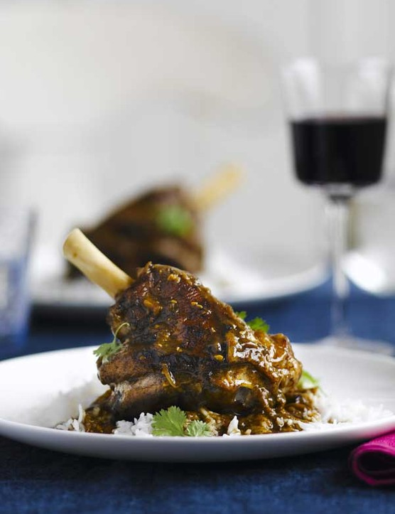 Slow-braised lamb shanks with coconut and cardamom
