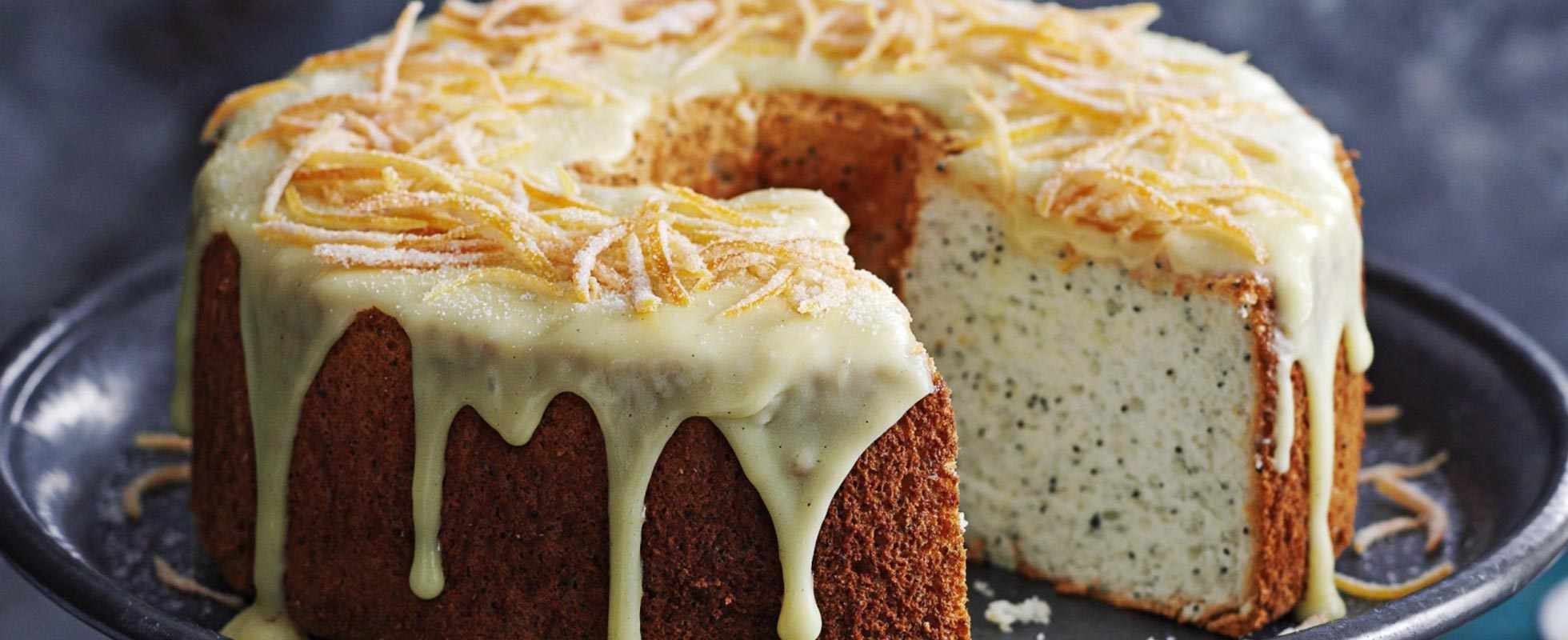 Grapefruit and poppy seed angel cake with white chocolate frosting