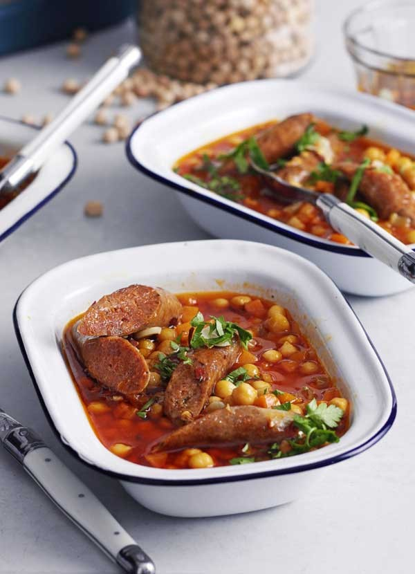 Chickpea and merguez stew with chilli garlic oil