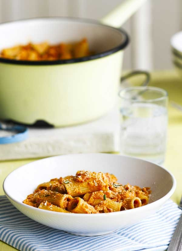 Rigatoni with tomato, rosemary and parmesan sauce