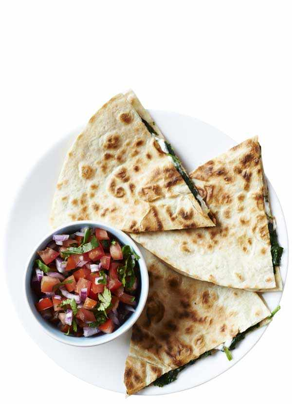 Spinach and Feta Quesadillas Recipe with Tomato Salsa