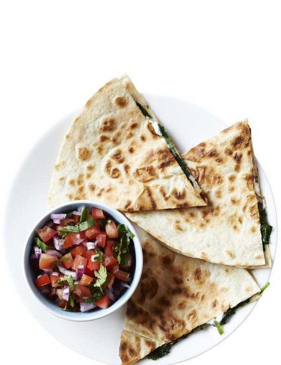 Spinach and Feta Quesadillas Recipe with Tomato Salsa