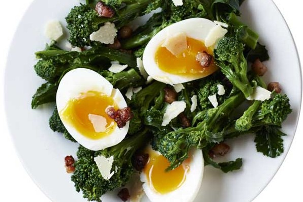 Purple sprouting broccoli with pancetta and soft-boiled eggs