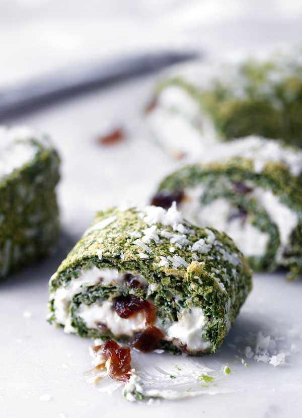 Watercress, ricotta and nutmeg roulade