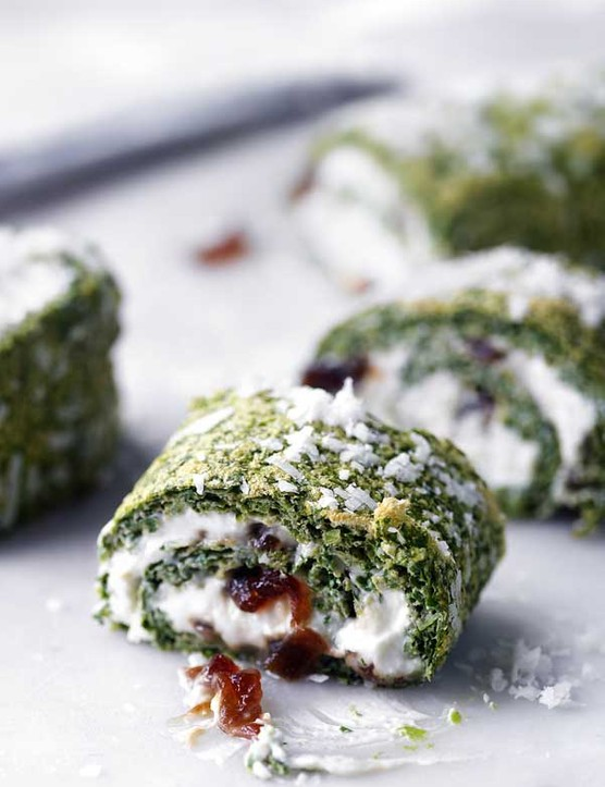Watercress, ricotta and nutmeg roulade