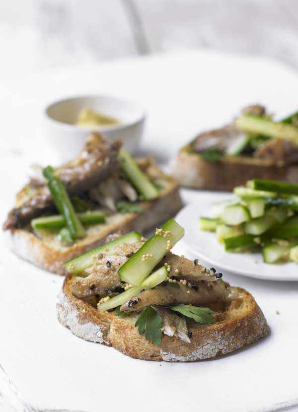 Mackerel on Toast Recipe with Pickled Cucumbers