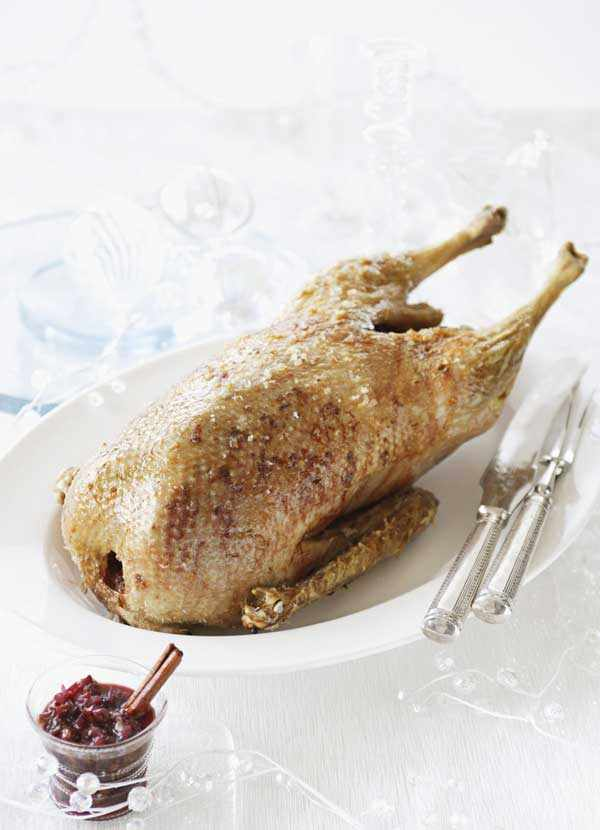 Roast goose with sour cherry and red wine sauce