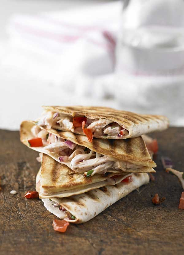 Shredded turkey quesadillas