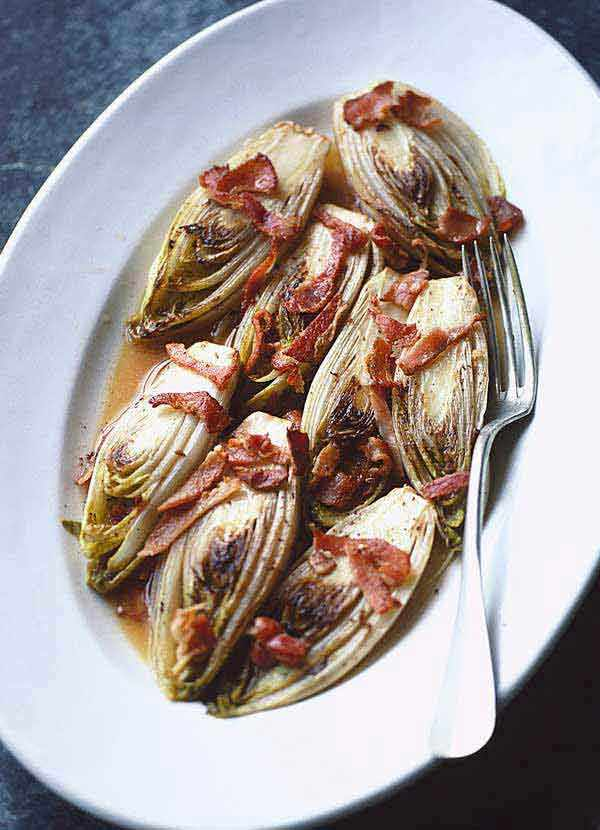 Braised Chicory with Bacon with Cider