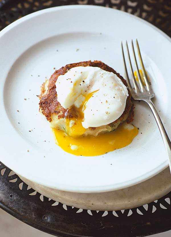 Brussels bubble and squeak with poached egg