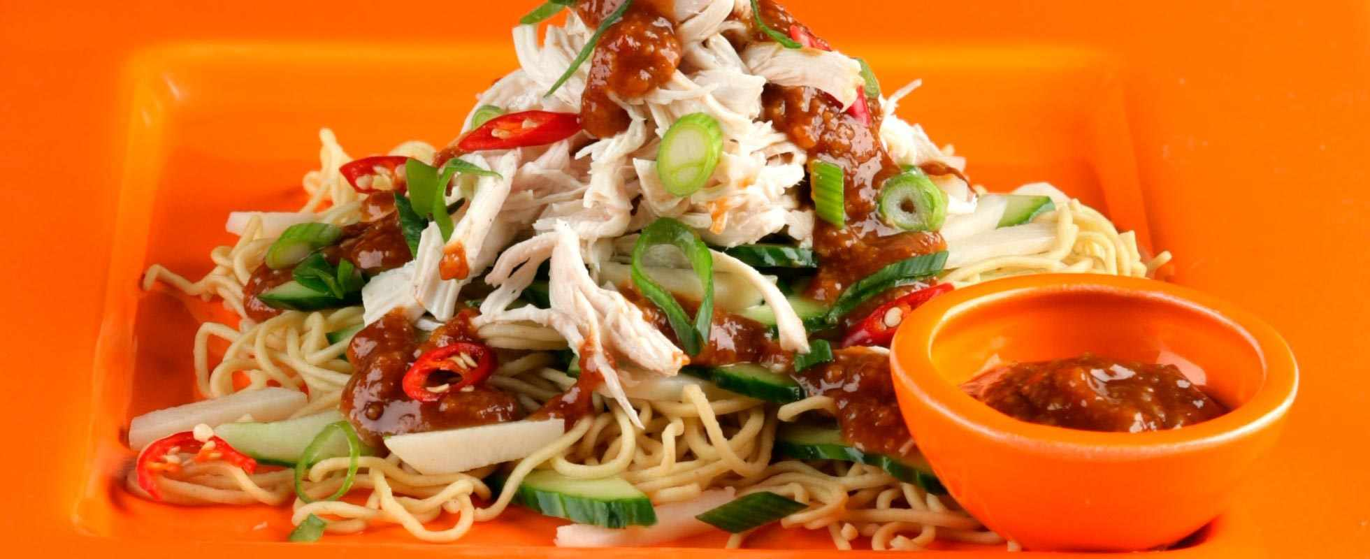 Spicy peanut noodles with chicken and water chestnuts