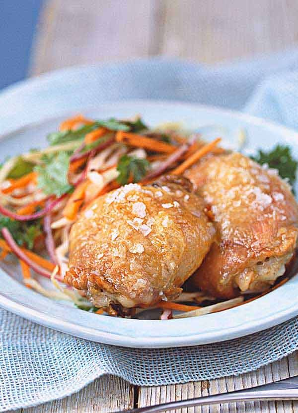 Salt Roasted Chicken with Spiced Carrot Coleslaw