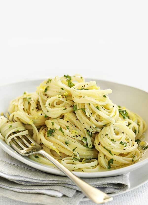 Linguine with lemon, garlic and parmesan