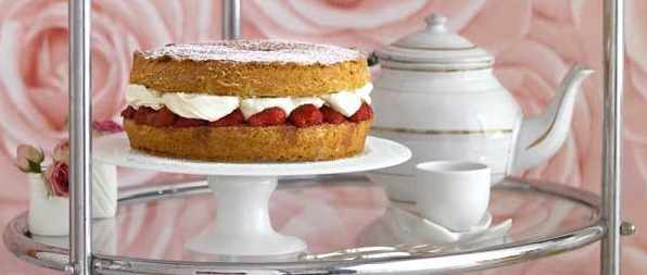 Victoria sandwich with fresh strawberry jam