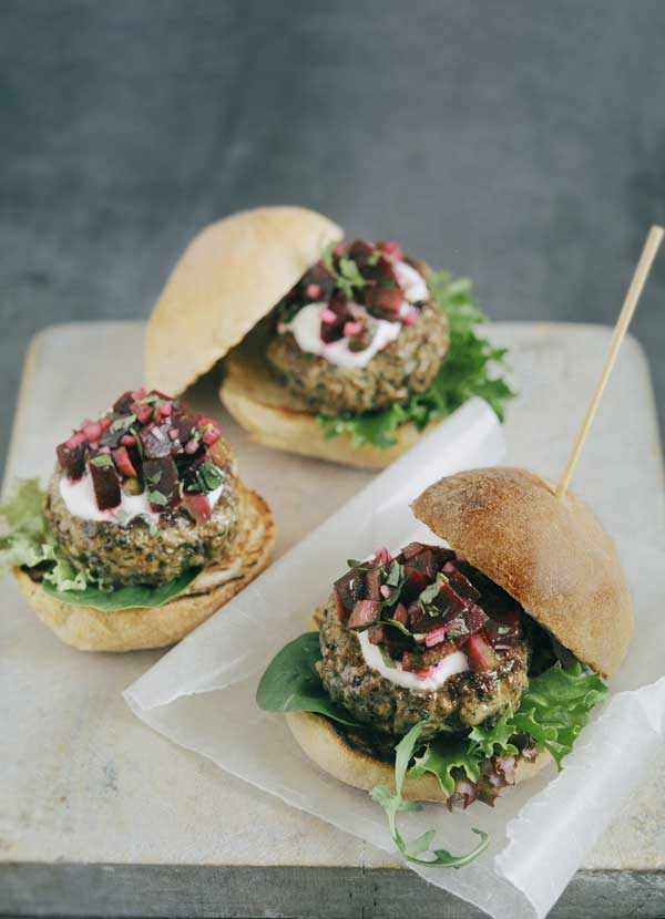 Lamb and coriander burgers with beetroot relish