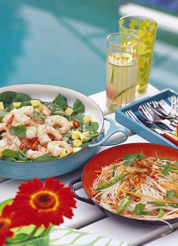Rice Noodle Salad Recipe with Peas and Shallots