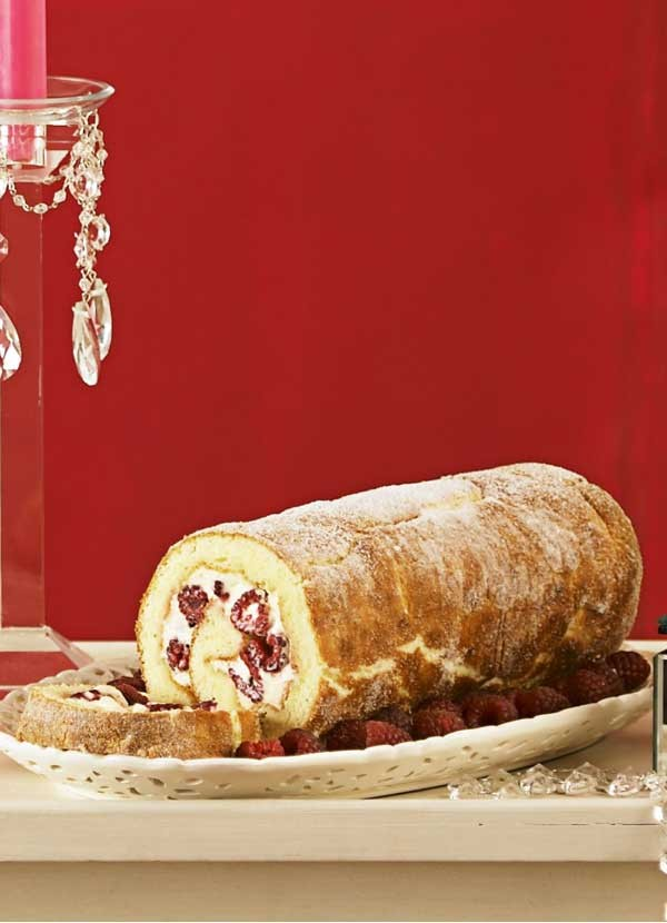 Lemon curd and raspberry roulade