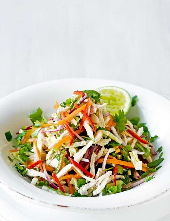 Finely chopped Thai Chicken Salad Recipe served in a large white bowl