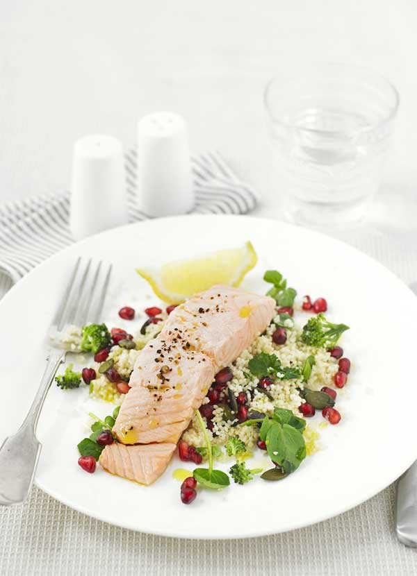 Steamed salmon with couscous