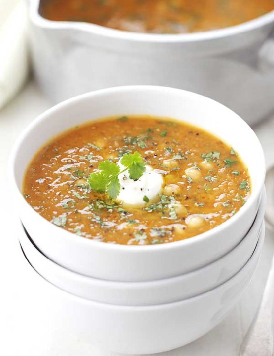 Red lentil, chickpea and chilli soup