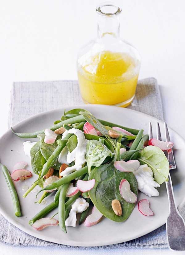 Rhubarb, green bean and almond salad