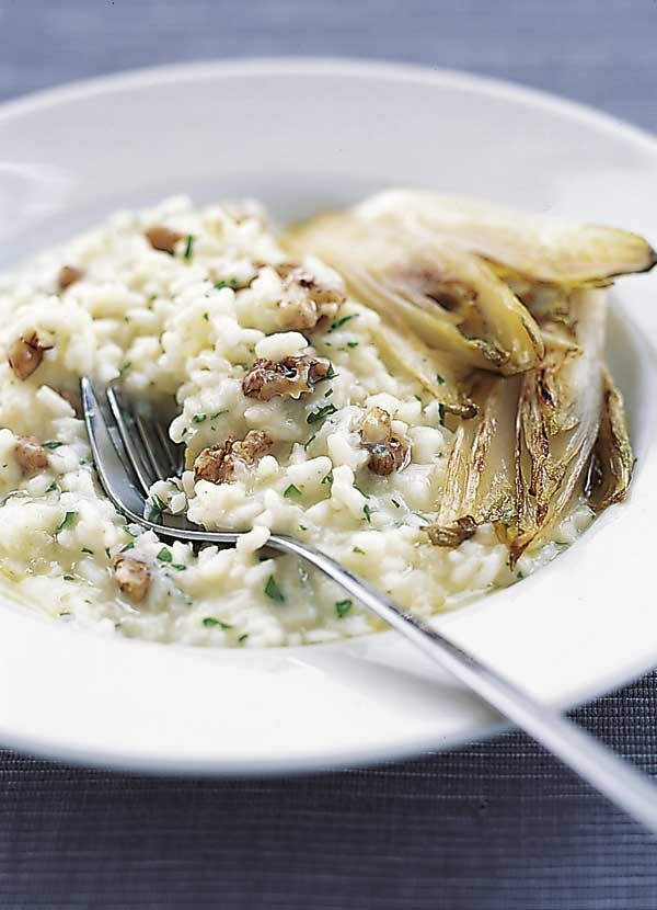 Risotto Recipe with Grilled Chicory and Walnuts